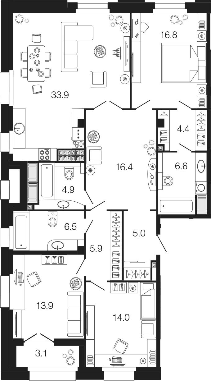 4-комнатная 131 м<sup>2</sup> на 9 этаже
