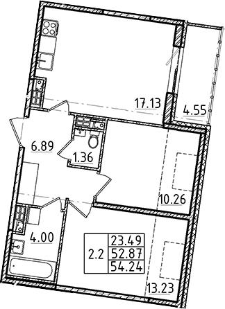3-комнатная 57 м<sup>2</sup> на 5 этаже