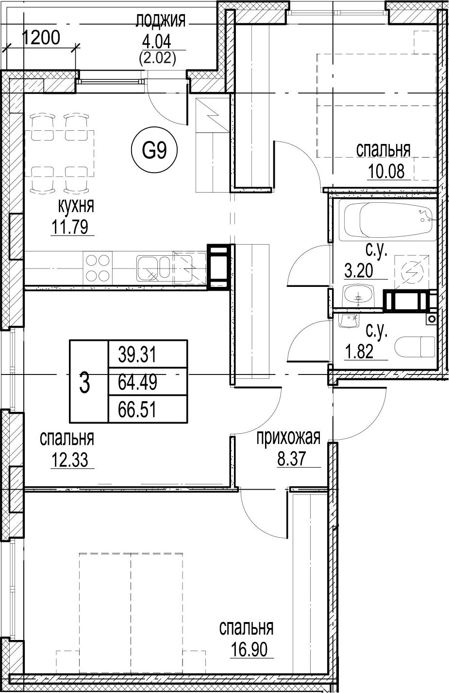 3-комнатная 68 м<sup>2</sup> на 12 этаже