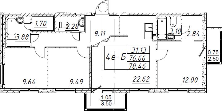 4-комнатная 82 м<sup>2</sup> на 1 этаже
