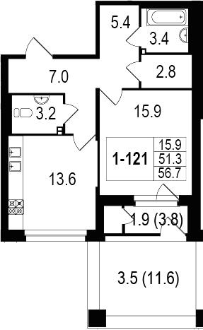 1-комнатная 66 м<sup>2</sup> на 1 этаже