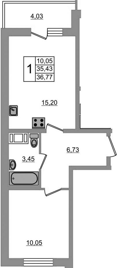 2-к.кв (евро), 39.46 м²