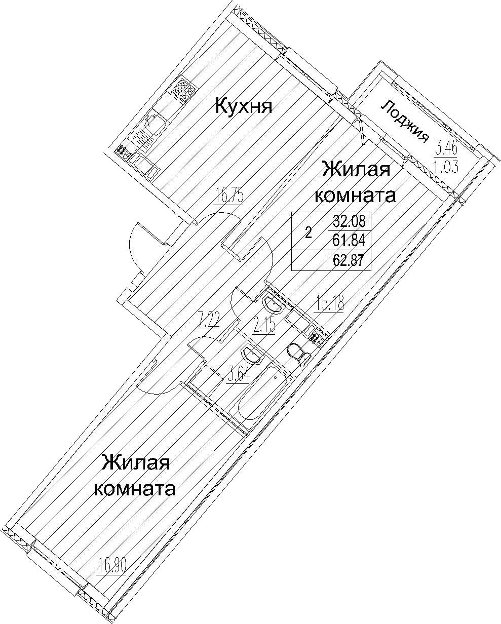 3-комнатная 65 м<sup>2</sup> на 11 этаже