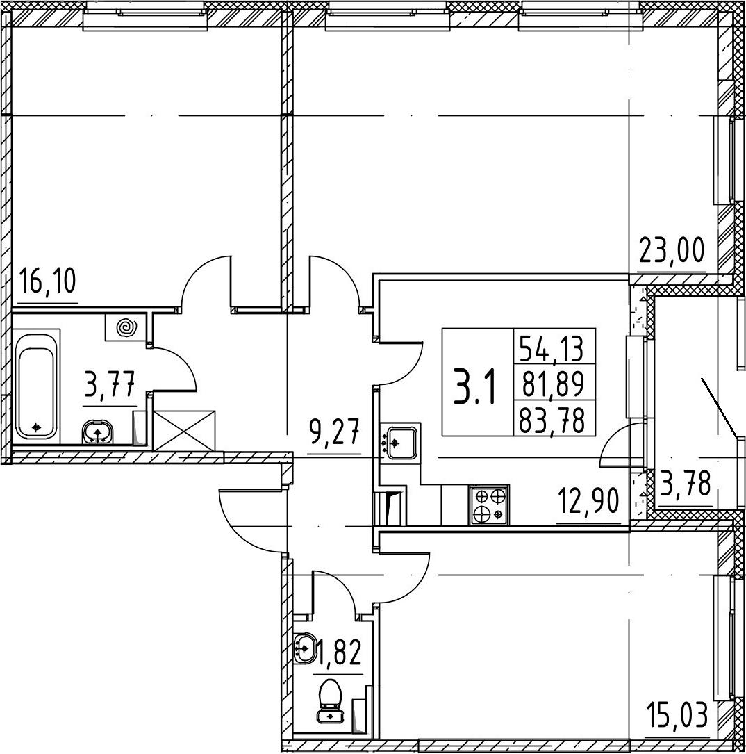 3-комнатная 85 м<sup>2</sup> на 1 этаже