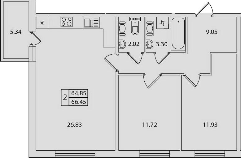 3-к.кв (евро), 70.19 м²
