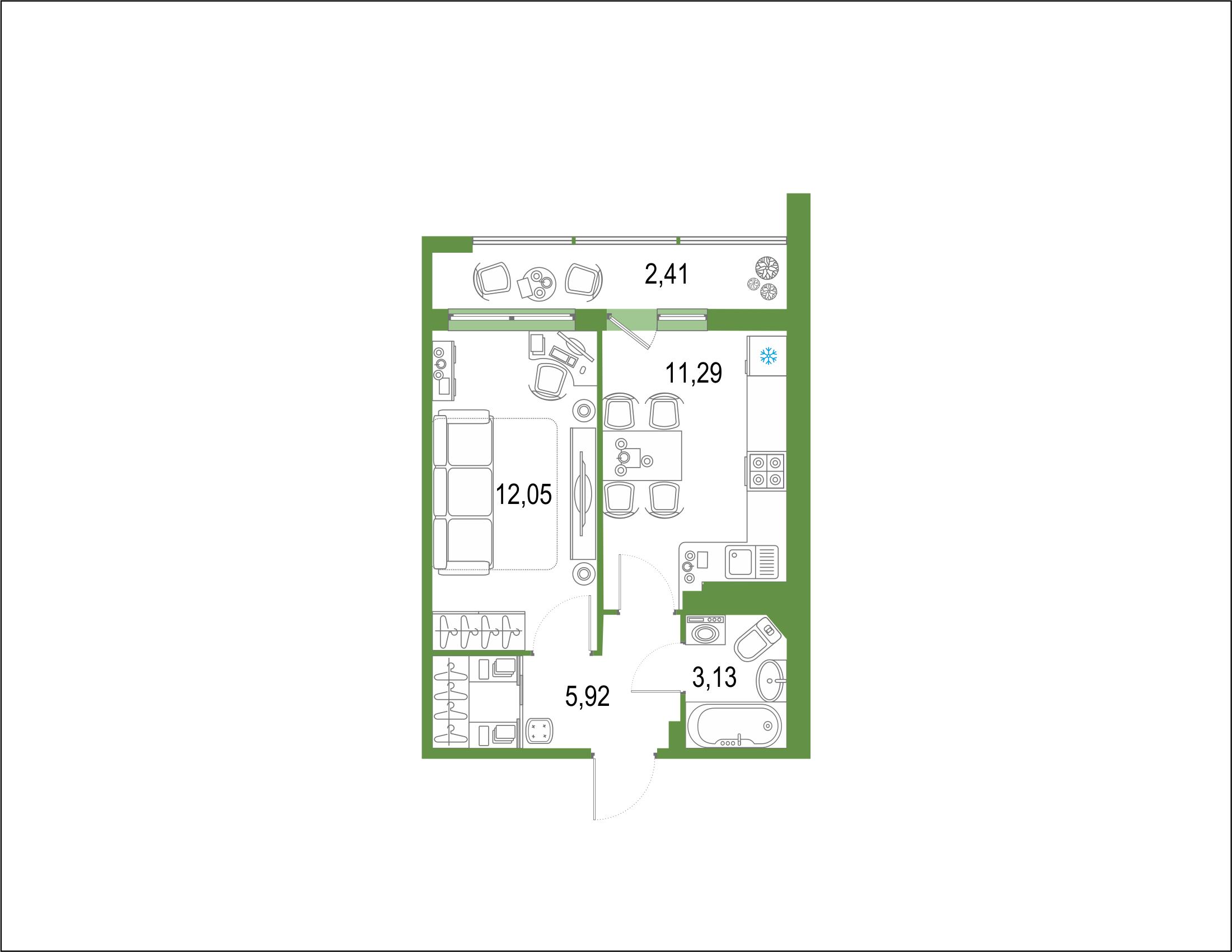 1-комнатная 37 м<sup>2</sup> на 21 этаже