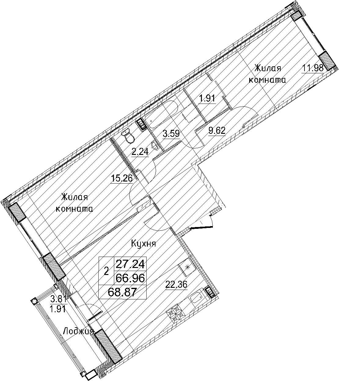 3-к.кв (евро), 70.78 м²