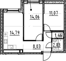 3-комнатная 52 м<sup>2</sup> на 1 этаже