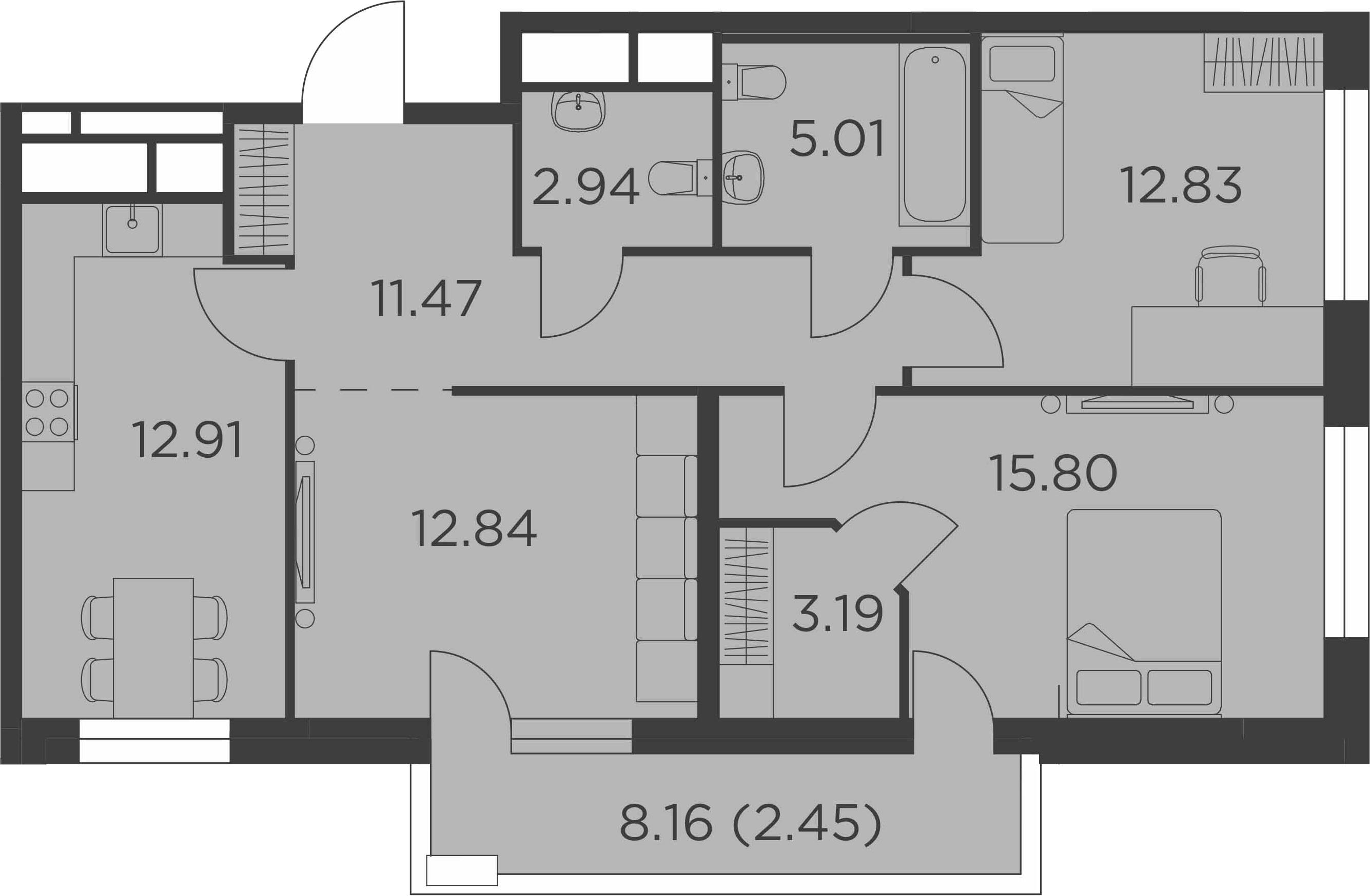 3-к.кв, 85.16 м²