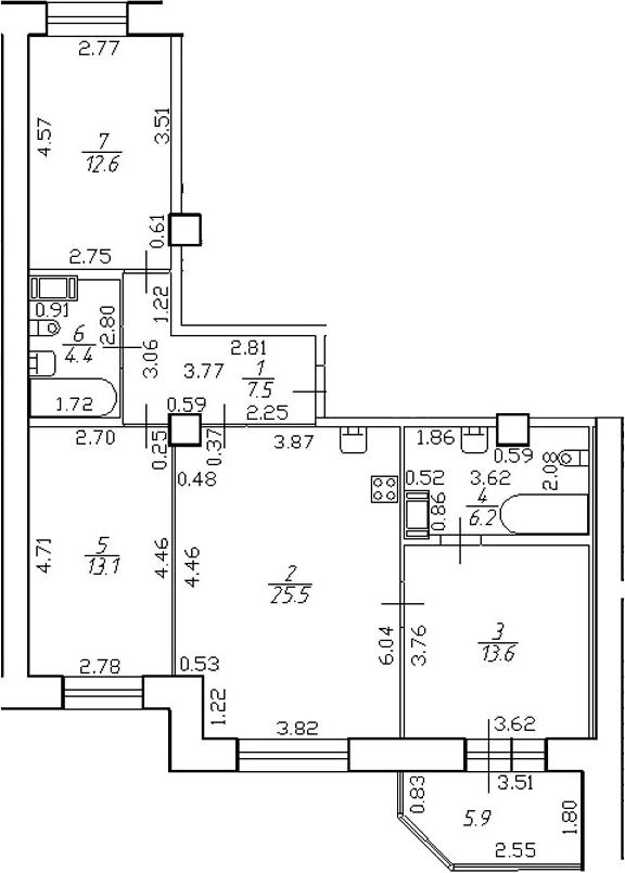 4-комнатная 88 м<sup>2</sup> на 12 этаже