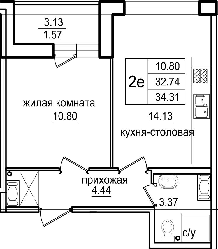 2-к.кв (евро), 35.88 м²