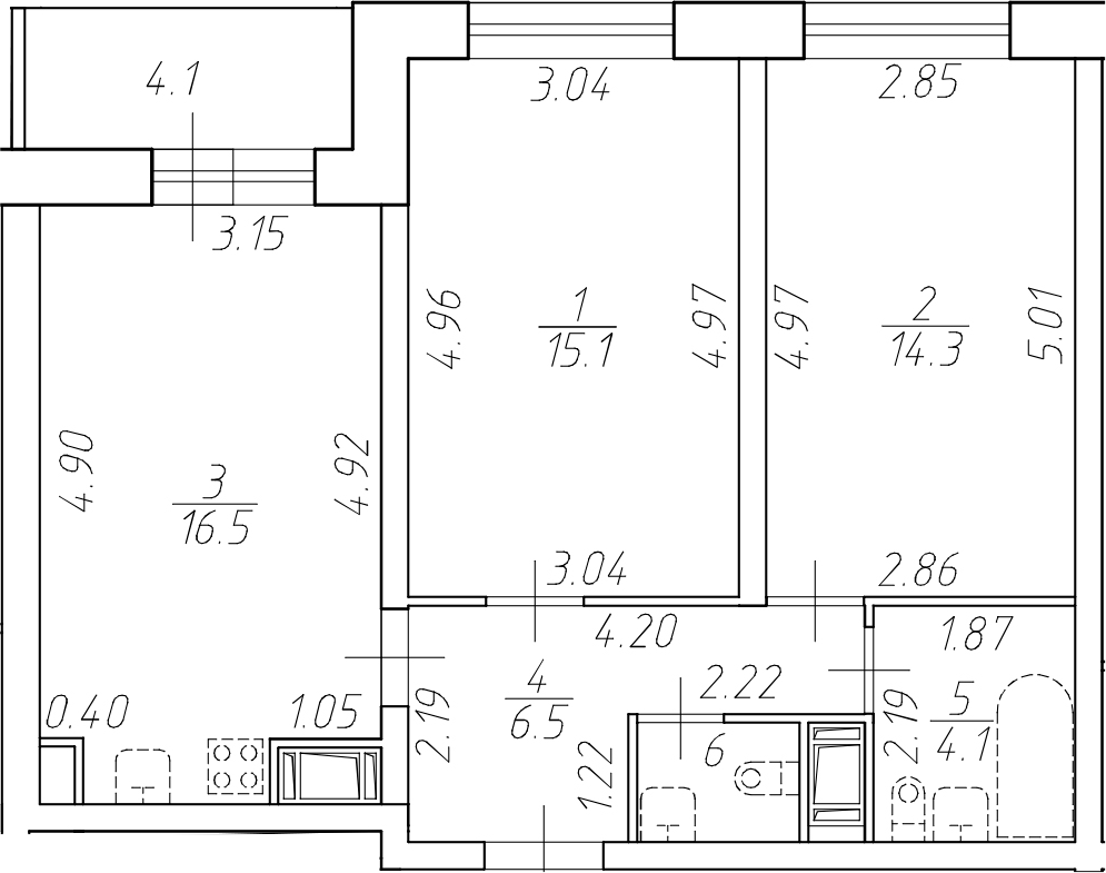 3-комнатная 62 м<sup>2</sup> на 13 этаже