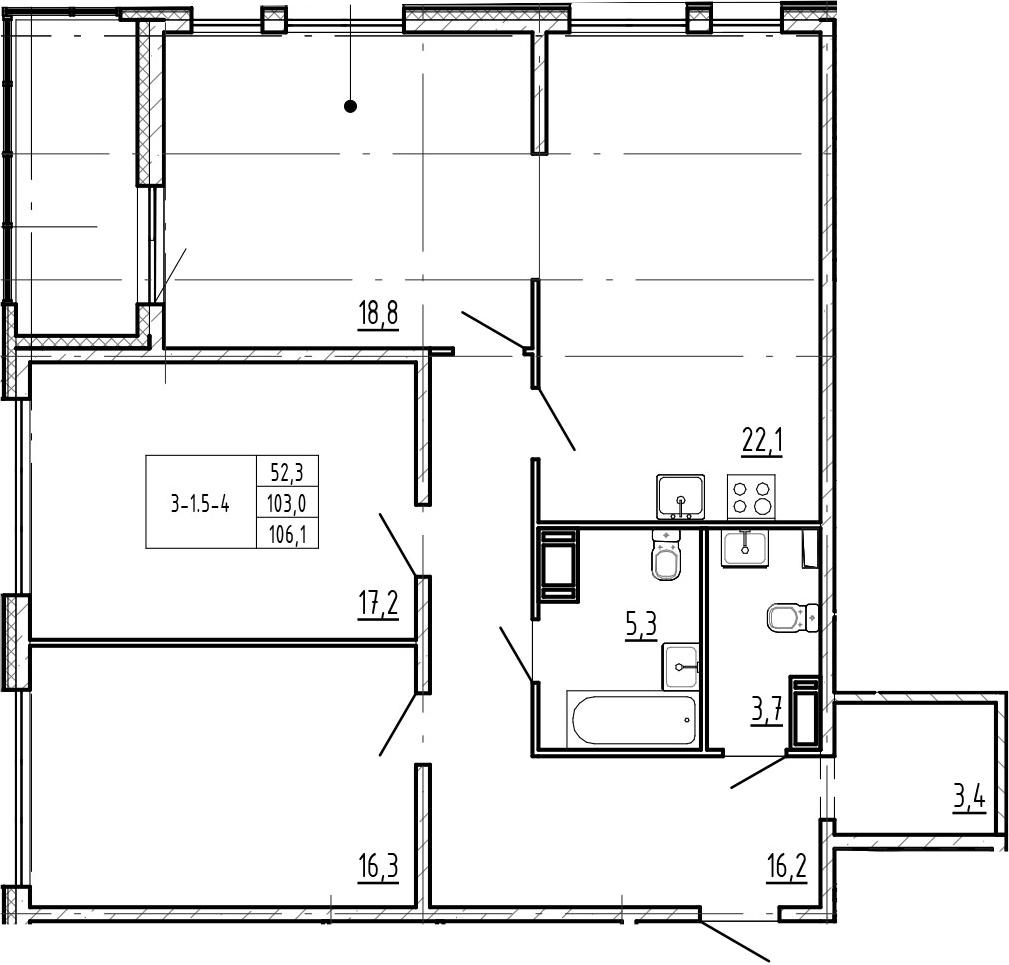 4-комнатная 109 м<sup>2</sup> на 8 этаже