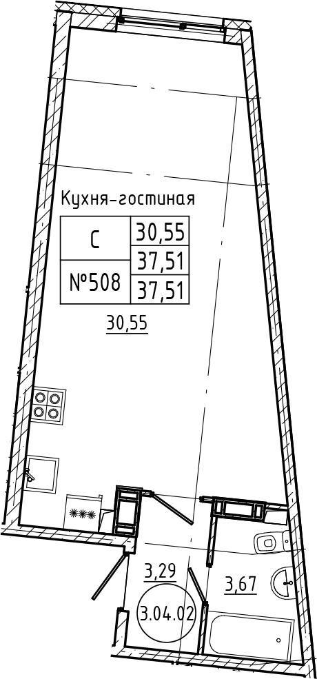 Студия 37 м<sup>2</sup> на 4 этаже