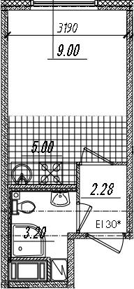 Студия 19 м<sup>2</sup> на 12 этаже