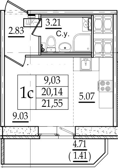 Студия 24 м<sup>2</sup> на 19 этаже