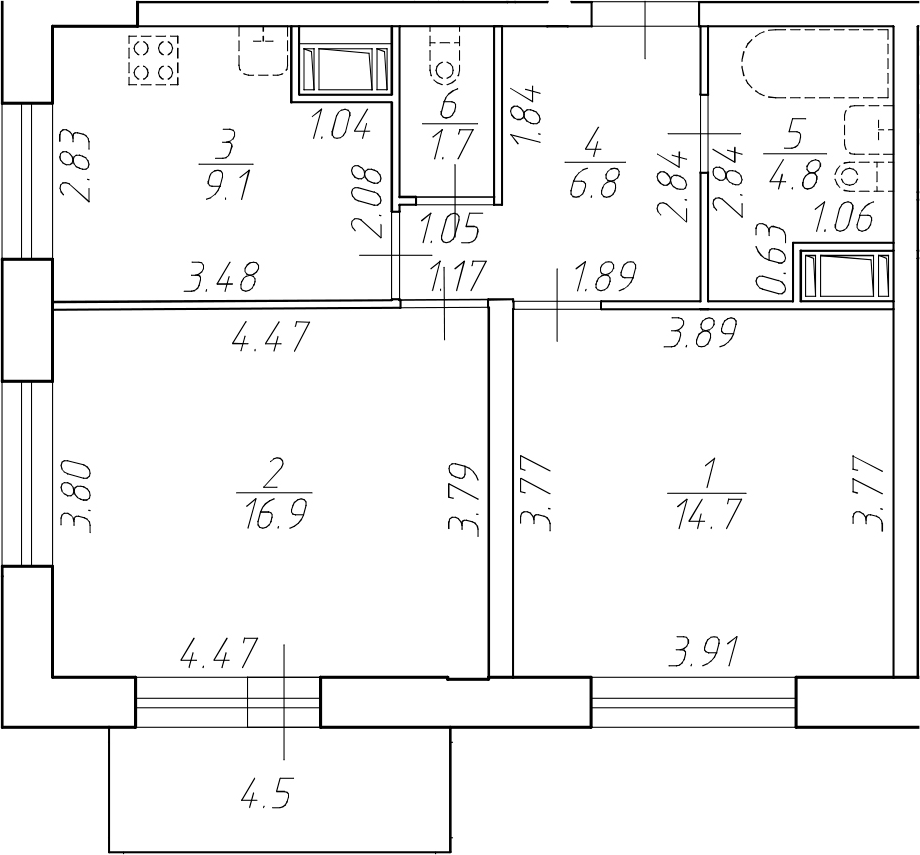 2-комнатная 58 м<sup>2</sup> на 10 этаже