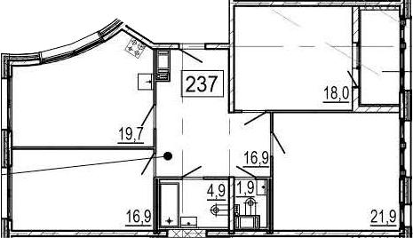 4-комнатная 105 м<sup>2</sup> на 4 этаже