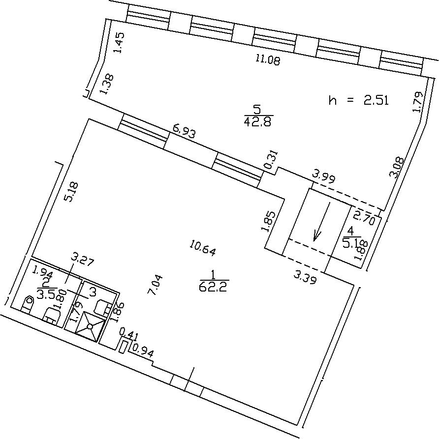 1-комнатная 115 м<sup>2</sup> на 3 этаже