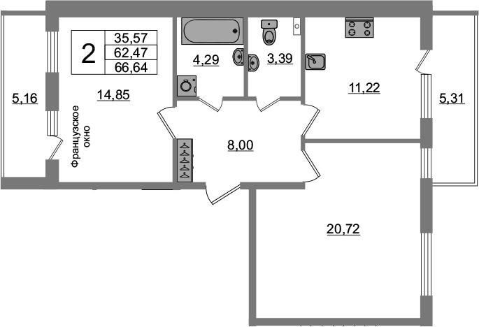 2-комнатная 72 м<sup>2</sup> на 3 этаже