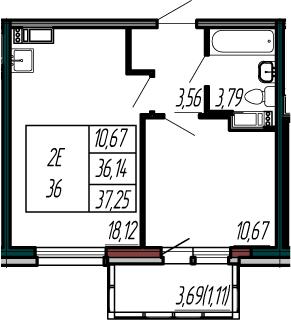 2-к.кв (евро), 39.83 м²
