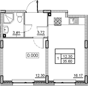 2-комнатная 35 м<sup>2</sup> на 1 этаже