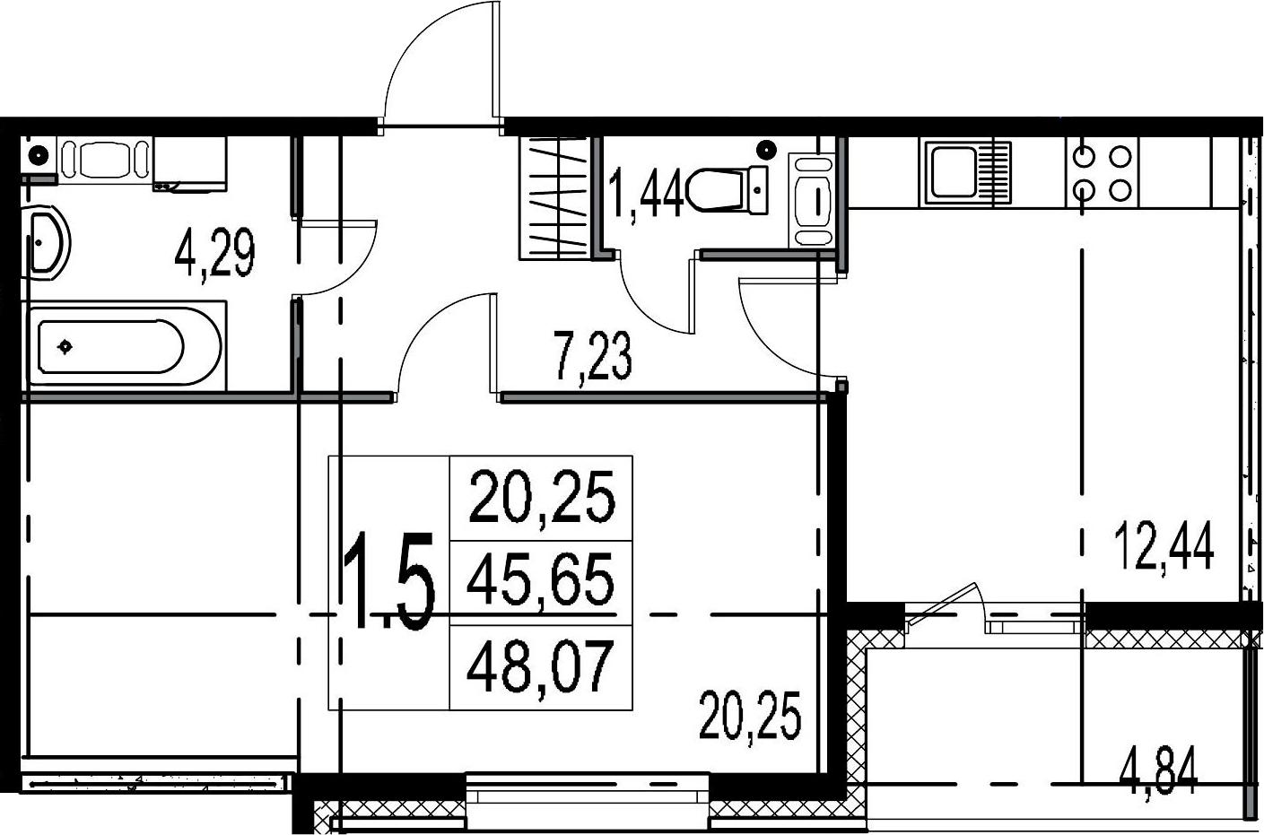 1-комнатная 50 м<sup>2</sup> на 8 этаже