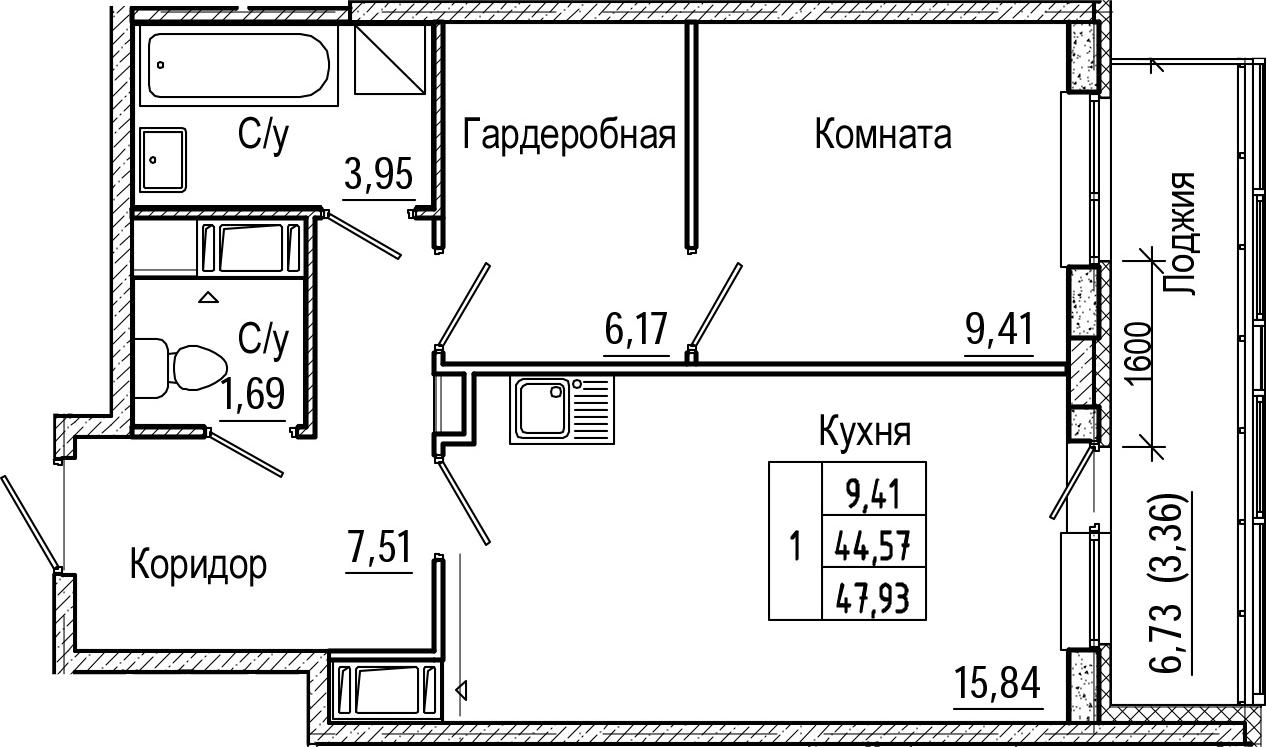 2-комнатная 51 м<sup>2</sup> на 17 этаже