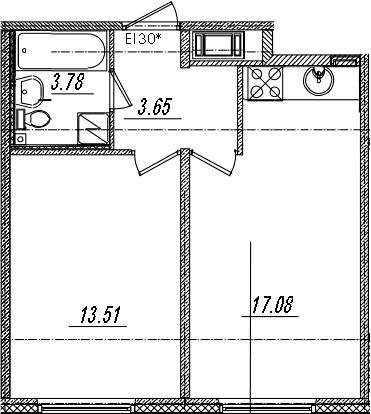 2-комнатная 38 м<sup>2</sup> на 10 этаже