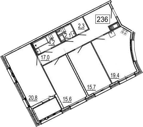 4-комнатная 101 м<sup>2</sup> на 4 этаже