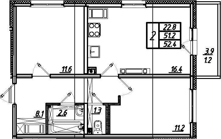3-комнатная 55 м<sup>2</sup> на 25 этаже