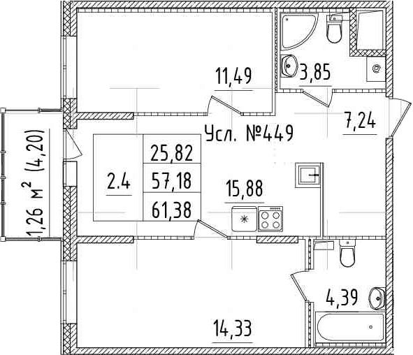 3-к.кв (евро), 61.38 м²