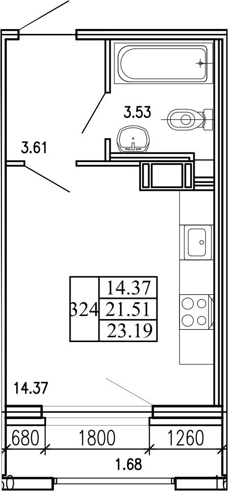 Студия 24 м<sup>2</sup> на 6 этаже