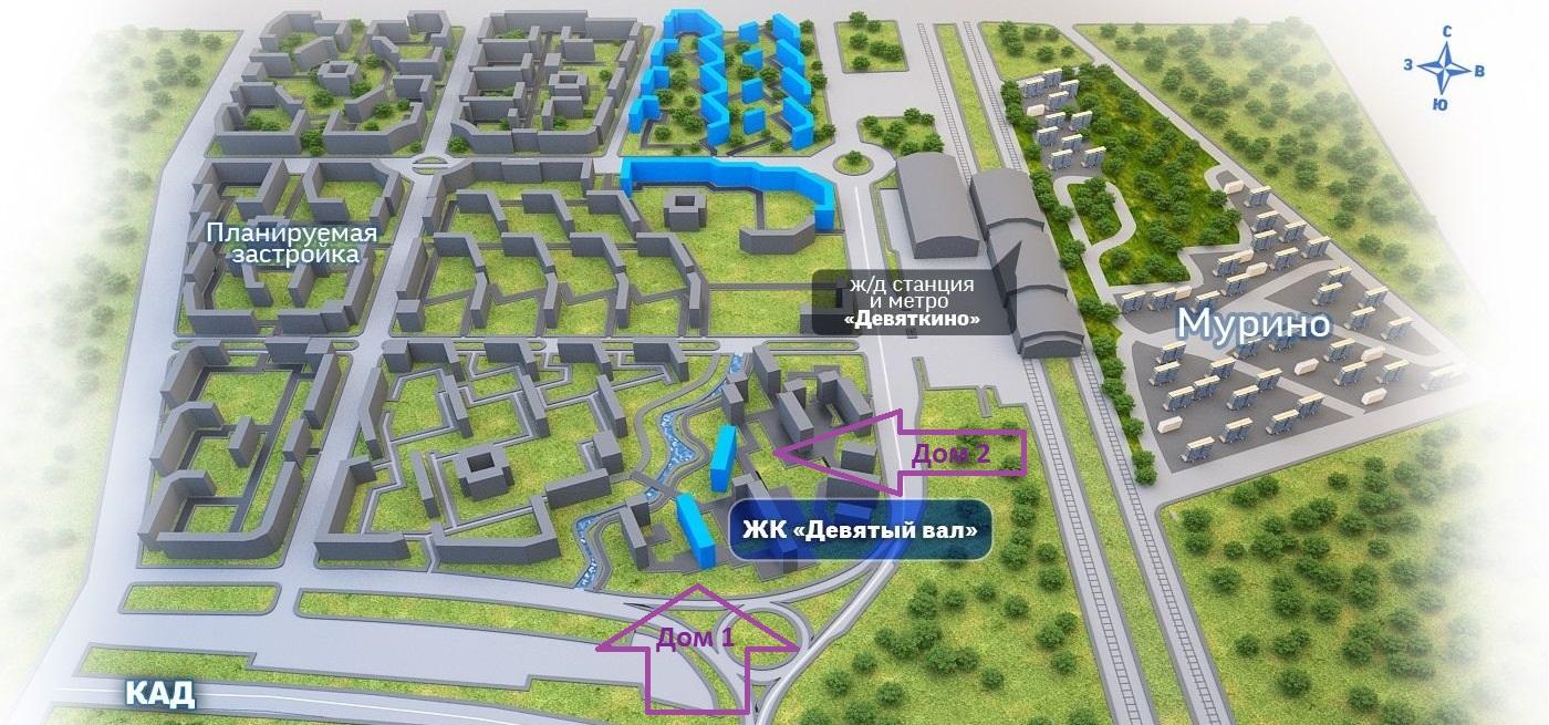 План жилого комплекса ЖК Девятый вал