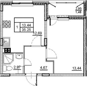 1-комнатная 36 м<sup>2</sup> на 2 этаже