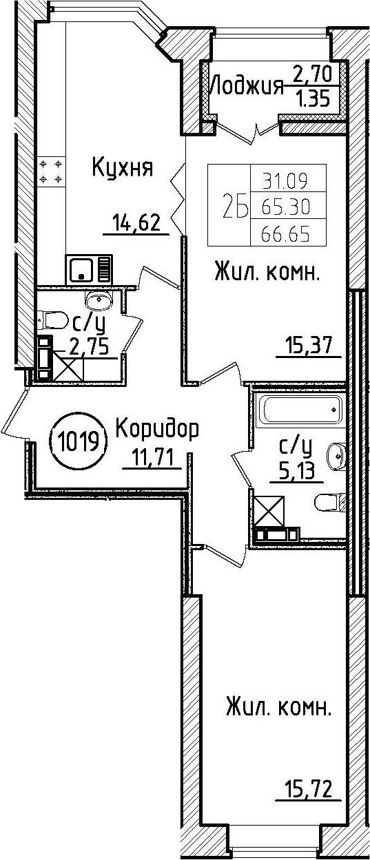 2-комнатная 68 м<sup>2</sup> на 5 этаже