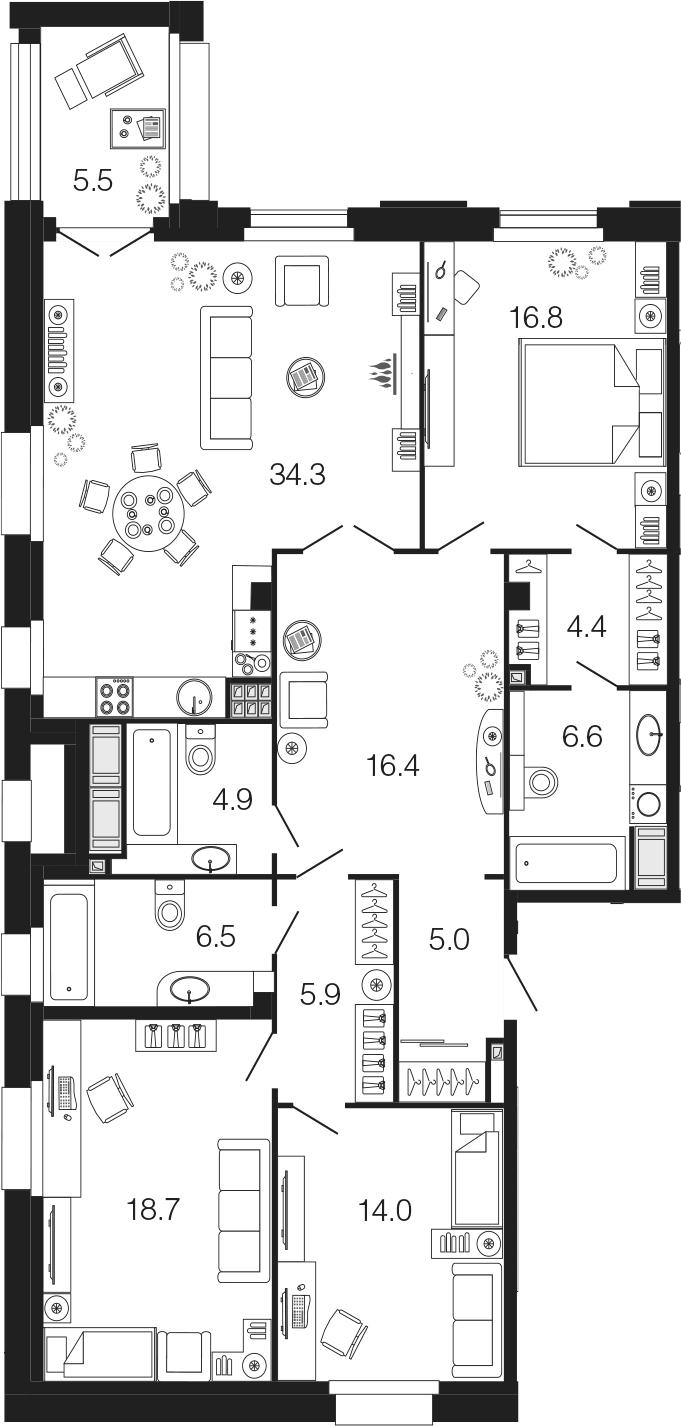 4-комнатная 139 м<sup>2</sup> на 5 этаже
