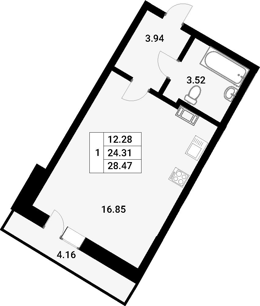 Студия, 28.47 м²
