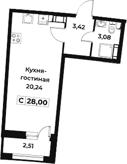 Студия 29 м<sup>2</sup> на 9 этаже