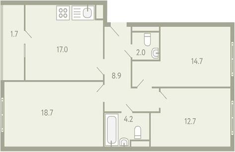 3-к.кв, 82.5 м²