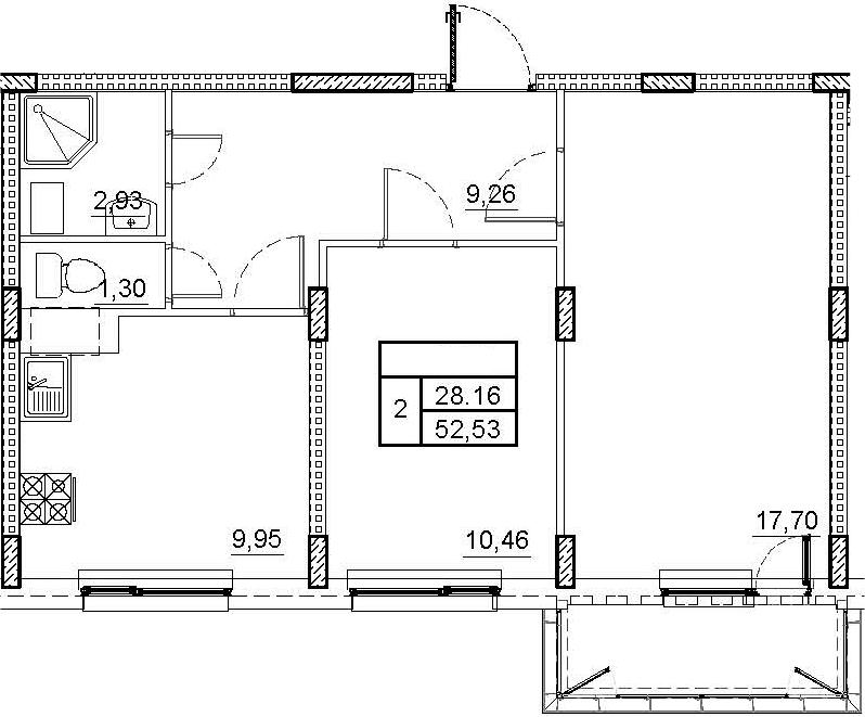 2-комнатная 54 м<sup>2</sup> на 4 этаже