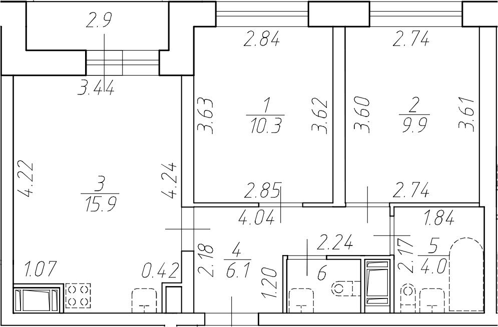 3-комнатная 50 м<sup>2</sup> на 9 этаже