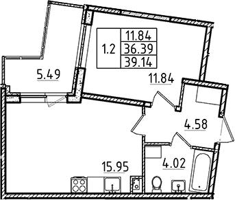 2-комнатная 41 м<sup>2</sup> на 1 этаже