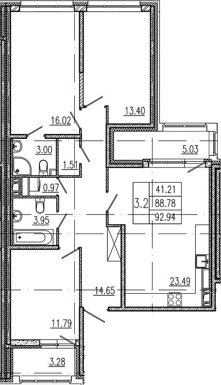 4-комнатная 97 м<sup>2</sup> на 10 этаже