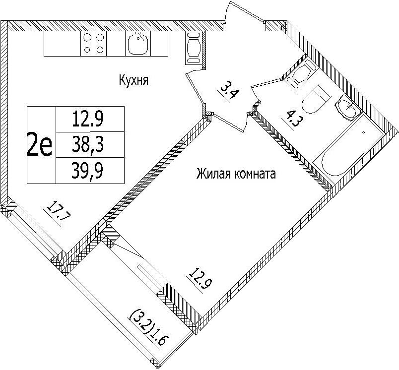 2-к.кв (евро), 41.5 м²