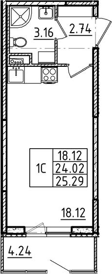 Студия 28 м<sup>2</sup> на 1 этаже