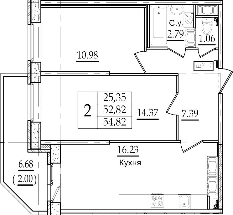 3-комнатная 59 м<sup>2</sup> на 18 этаже