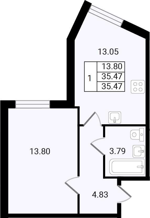 1-к.кв, 35.47 м²