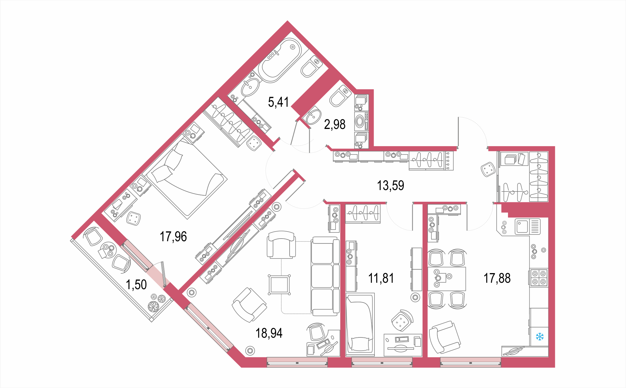 4-комнатная 91 м<sup>2</sup> на 21 этаже