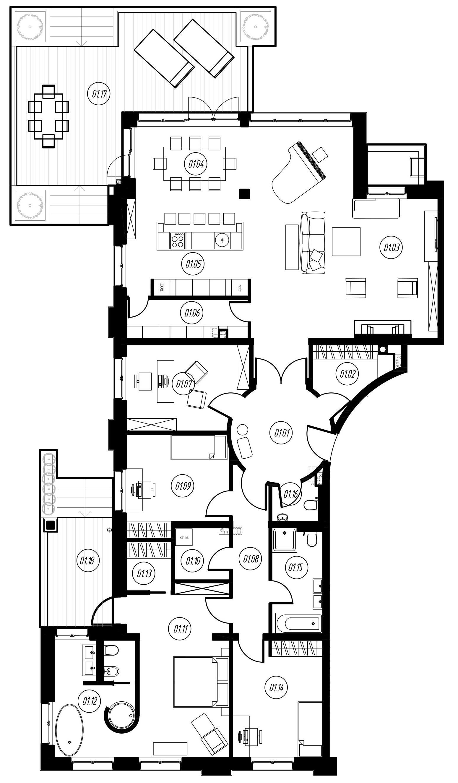 4-комнатная 229 м<sup>2</sup> на 1 этаже